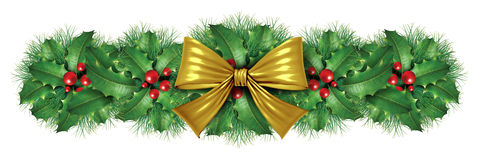 Christmas Gold bow border decoration. Christmas Gold silk bow border decoration with pine design element as an  ornamental holiday decoration for Holiday festive Royalty Free Stock Photo