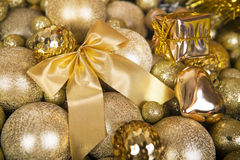 Christmas gold bow like a background. Stock Images