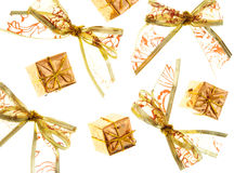 Christmas gold bows and star Royalty Free Stock Photography