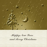 Christmas gold card Stock Images