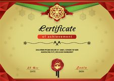 Christmas gold certificate. Red green abstract border, snowflake emblem, portrait Santa on red wafer. Merry Christmas card Stock Photos