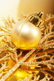 Christmas gold colors decorations Royalty Free Stock Photography