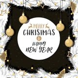 Christmas with gold decorated ball of pine branches. Christmas with gold decorated ball of pine branches in background black and white.  illustration Vector Stock Photography