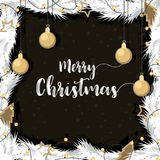 Christmas with gold decorated ball pine branches. Christmas with gold decorated ball of pine branches in background black and white.  illustration Vector Royalty Free Stock Photo