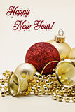 Christmas gold decoration, balls, beads, close-up bell isolated Stock Photography