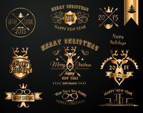 2015 Christmas Gold decorations set of calligraphic and typographic designs Stock Images