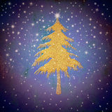 Christmas gold fir tree, starry sky. Christmas greeting card,gold fir tree with stars, on blue  background Royalty Free Stock Images