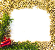 Christmas Gold frame. Photo of christmas gold frame whit pine and red bow royalty free stock photography