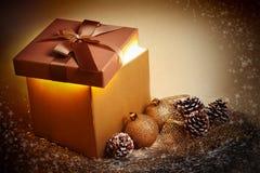 Christmas gold gift Stock Photography