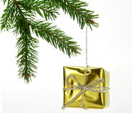 Christmas gold gift. Christmas decoration  - Gold gift hanged on twig Royalty Free Stock Photo
