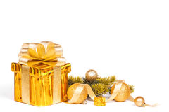 Christmas gold gift box isolated on white background stock images