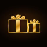Christmas gold gifts set Stock Photography