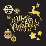 Christmas gold glitter  elements. Vector Royalty Free Stock Photos