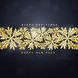 Christmas gold glittering snowflakes background Royalty Free Stock Photography