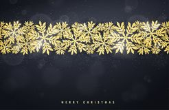 Christmas gold glittering snowflakes background Royalty Free Stock Photos