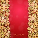 Christmas gold glittering snowflakes background Stock Images
