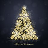 Christmas gold glittering snowflakes background Royalty Free Stock Photo