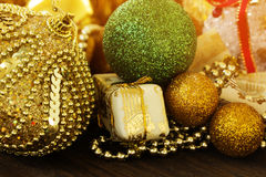 Christmas gold and green balls Royalty Free Stock Photo