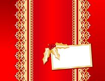 christmas gold lace red satin 库存照片