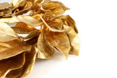 Christmas Gold Leaves With Copy Space Royalty Free Stock Images