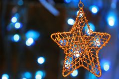 christmas gold metal ornament Στοκ εικόνες με δικαίωμα ελεύθερης χρήσης