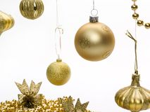 Christmas gold ornaments Royalty Free Stock Images