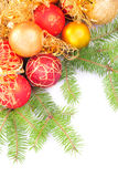 Christmas gold and pink with pine branch Royalty Free Stock Photography