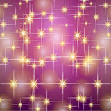 Christmas gold purple stars Royalty Free Stock Image