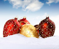 Christmas gold and red bauble Royalty Free Stock Image