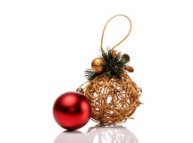 Christmas gold and red toy isolated on white background Royalty Free Stock Photos