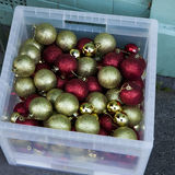 Christmas gold and red toy Royalty Free Stock Photo