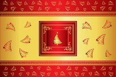 Christmas gold and red vector card Stock Photo