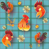 Christmas Gold Rooster Pattern. Vector seamless pattern background with hand-painted New Year holiday symbols Fire Roosters on a blue tablecloth Royalty Free Stock Image