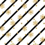 Christmas gold snowflake seamless pattern. Golden snowflakes on black and white diagonal lines background. Winter snow texture wallpaper. Symbol holiday, New Stock Images