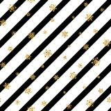 Christmas gold snowflake seamless pattern. Golden glitter snowflakes on black white diagonal lines background. Winter. Snow design wallpaper Symbol holiday, New Stock Image