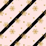 Christmas gold snowflake seamless pattern. Golden glitter snowflakes on pink black diagonal lines background. Winter. Snow design wallpaper Symbol holiday, New Royalty Free Stock Images