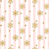 Christmas gold snowflake seamless pattern. Golden glitter snowflakes on pink white lines background. Winter snow texture Stock Photos