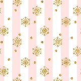 Christmas gold snowflake seamless pattern. Golden glitter snowflakes on pink white lines background. Winter snow texture. Design wallpaper Symbol holiday, New Royalty Free Stock Photography