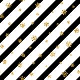 Christmas gold snowflake seamless pattern. Golden snowflakes on black and white diagonal lines background. Winter snow. Texture wallpaper. Symbol holiday, New Royalty Free Stock Photography