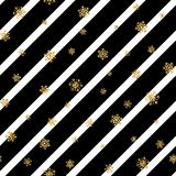 Christmas gold snowflake seamless pattern. Golden snowflakes on black and white diagonal lines background. Winter snow. Texture wallpaper. Symbol holiday, New Royalty Free Illustration