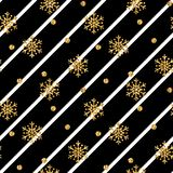 Christmas gold snowflake seamless pattern. Golden snowflakes on black and white diagonal lines background. Winter snow. Texture wallpaper. Symbol holiday, New Vector Illustration
