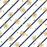 Christmas gold snowflake seamless pattern. Golden snowflakes on blue and white diagonal lines background. Winter snow royalty free illustration