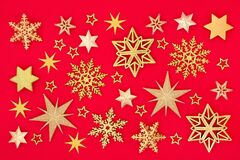 Christmas Gold Snowflake and Star Background
