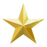 Christmas gold star. Gold Christmas star. 3d render with HDR