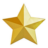 Christmas gold star. Gold Christmas star. 3d render with HDR Stock Photography