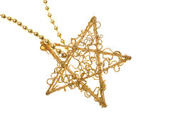 Christmas gold star on chain Stock Image