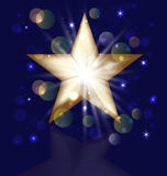 Christmas gold star greeting card Royalty Free Stock Photo