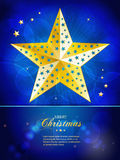 Christmas gold star template with sample text Royalty Free Stock Photo