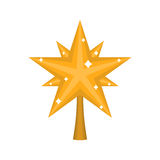 Christmas gold Star for tree. decoration for fir-tree isolated. New year ornament Stock Photo