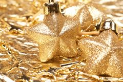 Christmas gold stars Royalty Free Stock Image